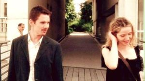 Ethan Hawke and Julie Delpy in Before Sunset (the sequel to Before Sunrise)
